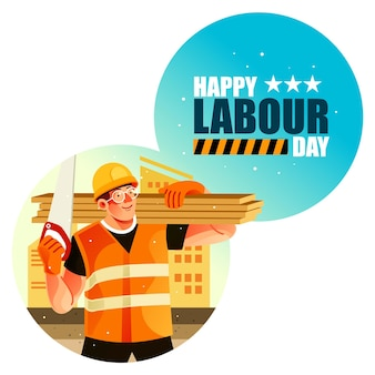 Pracownik budowlany szczęśliwego święta pracy