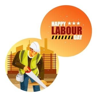 Pracownik budowlany szczęśliwy dzień pracy