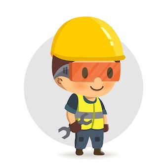 Pracownik budowlany trzyma klucz lub klucz.