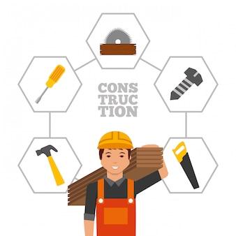 Pracownik budowlany z drewnianymi deskami i narzędziami