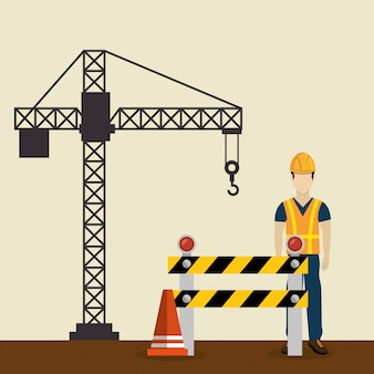 Pracownik budowlany z ikonami pod budowę