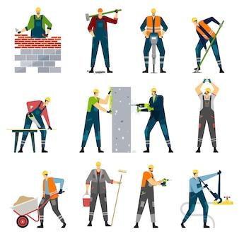 Pracownik budowlany z profesjonalnymi narzędziami budowniczy domu stolarz malarz naprawa wektor zestaw