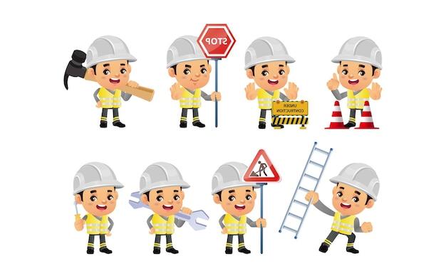 Pracownik budowlany z różnymi pozami