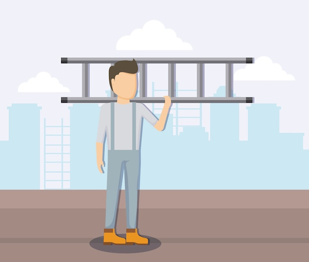 Pracownik budowlany ze schodami