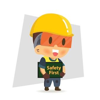 Pracownik budowy postaci posiadający pierwszy znak bezpieczeństwa. zasady bezpieczeństwa.