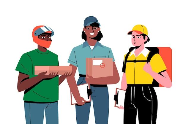 Pracownik dostawy do domu z różnych firm