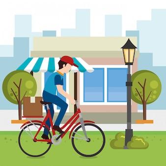 Pracownik dostawy na rowerze