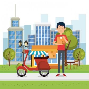 Pracownik dostawy z motocyklem