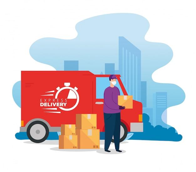 Pracownik dostawy za pomocą furgonetki z maską z opakowaniami pudeł