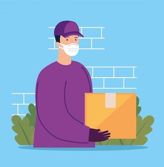 Pracownik dostawy za pomocą maski na twarz z pakietem pudełkowym