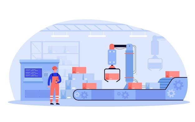 Pracownik fabryki obsługujący maszynę przenośnikową