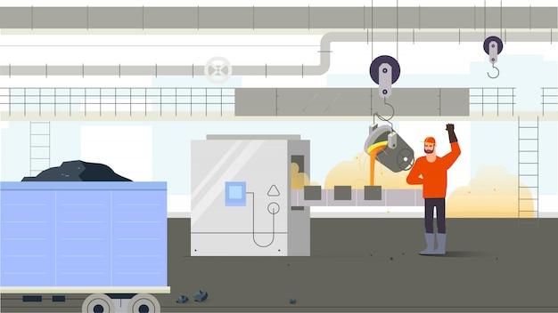 Pracownik fabryki wewnątrz produkcji. pojęcie sytuacji przemysłowej. ilustracji wektorowych