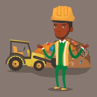 Pracownik i spychacz na wysypisku śmieci.