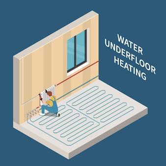 Pracownik instalujący wodny system ogrzewania podłogowego w izometrycznej ilustracji domu