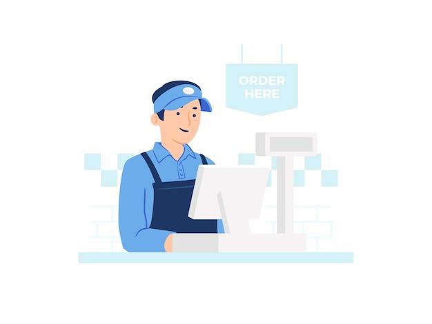 Pracownik kasjera restauracji fast food w mundurze z ilustracją koncepcji kasy