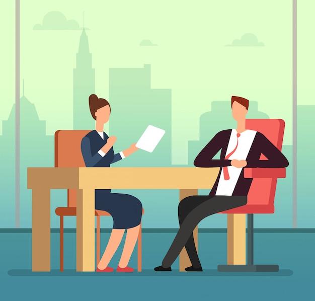 Pracownik kobieta i szef wywiadu spotkanie przy biurku. rozmowa kwalifikacyjna i rekrutacja koncepcja kreskówka wektor