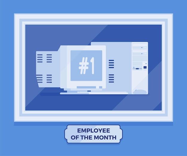 Pracownik komputerowy zwycięzcy miesiąca. gadżet najlepszego pracownika, osiągnięcie doskonałości w programie nagród za ciężką i produktywną pracę, zdjęcie lidera na ścianie. ilustracja wektorowa, postacie bez twarzy