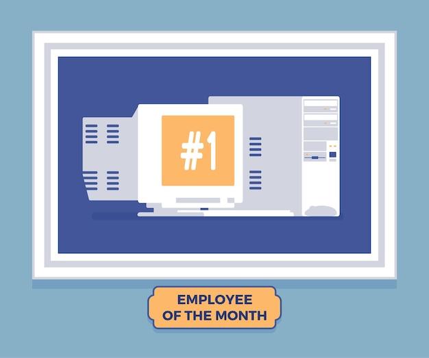 Pracownik komputerowy zwycięzcy miesiąca. gadżet najlepszego pracownika, osiągnięcie doskonałości w programie nagród za ciężką i produktywną pracę, zdjęcie lidera na ścianie.