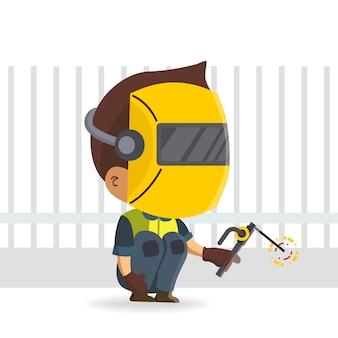 Pracownik konstruktora postaci o charakterze spawacza trzymającego pochodnię / kreskówkę spawalniczą