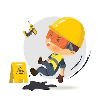 Pracownik konstruktora postaci ślizga się na smarze. ilustracja, koncepcja: bezpieczeństwo i wypadek, bezpieczeństwo przemysłowe.