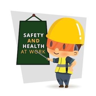 Pracownik konstruktora znaków w różnych sytuacjach. ilustracja, koncepcja: bezpieczeństwo i wypadek, bezpieczeństwo przemysłowe.