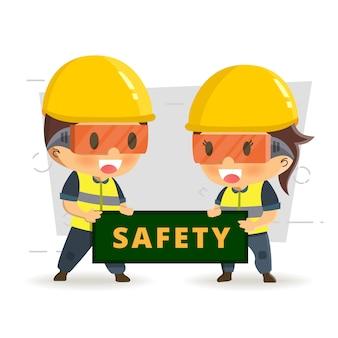 Pracownik konstruktora znaków w różnych sytuacjach. wektorowa ilustracja, pojęcie: bezpieczeństwo i wypadek, bezpieczeństwo przemysłowe.