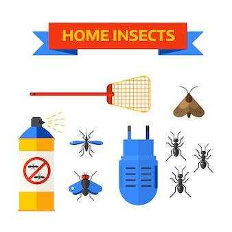 Pracownik kontroli szkodników rozpylanie pestycydów wektor owady domu.