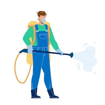 Pracownik kontroli szkodników rozpylanie pestycydów wektor. usługa zwalczania szkodników pracujący człowiek w sprayu chemiczny toksyczny płyn z profesjonalnym sprzętem. charakter ilustracja kreskówka tępiciel owadów