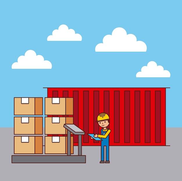 Pracownik logistyki i pojemnik pudełka tacowe na wadze skali