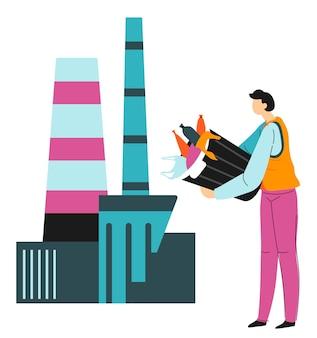 Pracownik lub wolontariusz zrzucający odpady do fabryki recyklingu. osoba dbająca o przyrodę i problem zanieczyszczenia. oddzielanie śmieci plastikowych i papierowych, redukcja poziomu śmieci, wektor w stylu płaskim