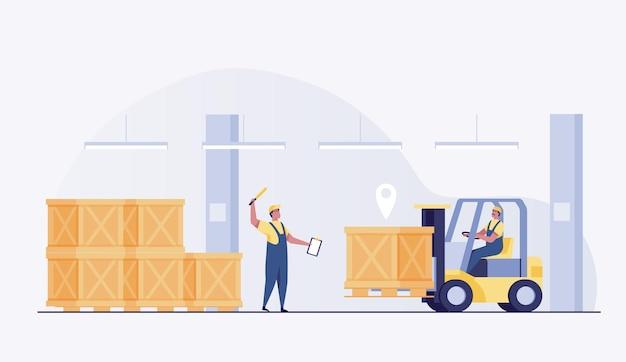 Pracownik magazynu w mundurze prowadzi wózek widłowy nowoczesne pudełka do układania w stosy. ilustracja wektorowa