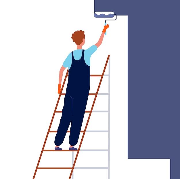 Pracownik malowanie ścian. naprawa domu serwisanta w specjalnym profesjonalnym stroju stojącego na drabinie i malowanie wektora pokoju remontowego. ilustracja pracownik malowanie ścian, złota rączka pracy