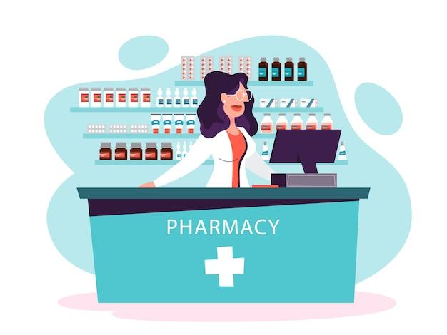 Pracownik medycyny w aptece. kobieta farmaceuta