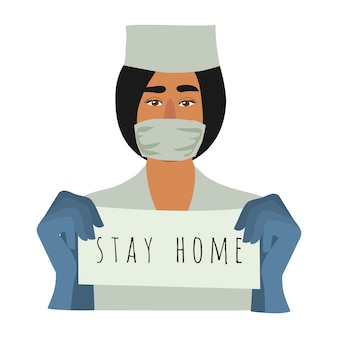Pracownik medyczny, lekarz, wzywający do pozostania w kwarantannie w domu.