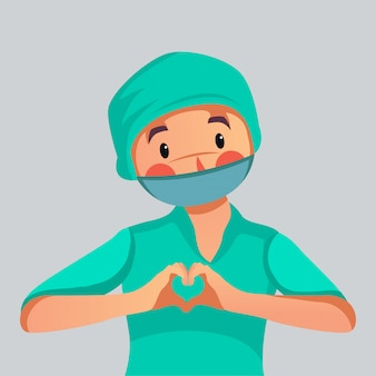 Pracownik medyczny robi miłości szyldowej ilustraci