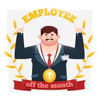 Pracownik miesiąca mężczyzna z medalem