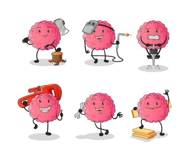 Pracownik mózgu zestaw znaków. kreskówka maskotka