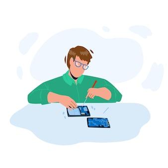 Pracownik naprawy smartfona naprawić gadżet wektor. młody człowiek uszkodzony naprawa smartfona z narzędziem śrubokręt. charakter chłopiec naprawiający zepsute urządzenie elektroniczne ilustracja kreskówka płaska