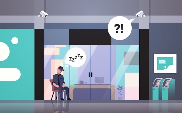 Pracownik ochrony śpi w miejscu pracy