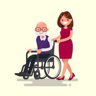 Pracownik opieki społecznej na spacerze z niepełnosprawnym dziadkiem w wózek inwalidzki ilustraci