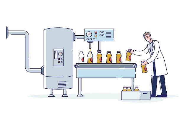 Pracownik pracujący w fabryce produkcji soków