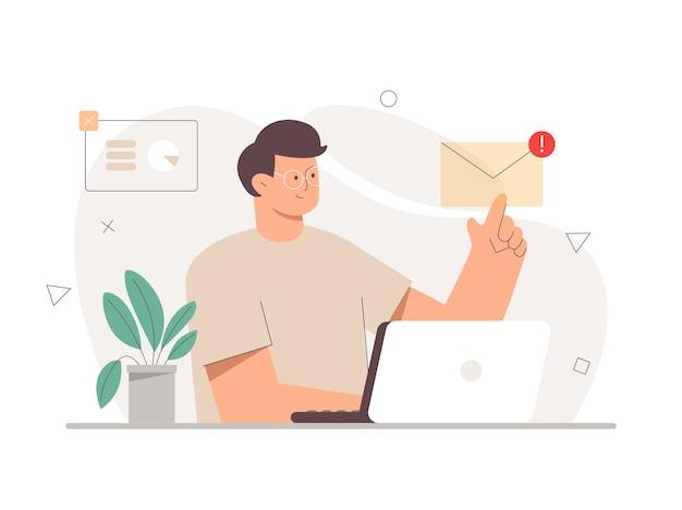 Pracownik pracujący z laptopem i palcem otwiera wiadomość e-mail