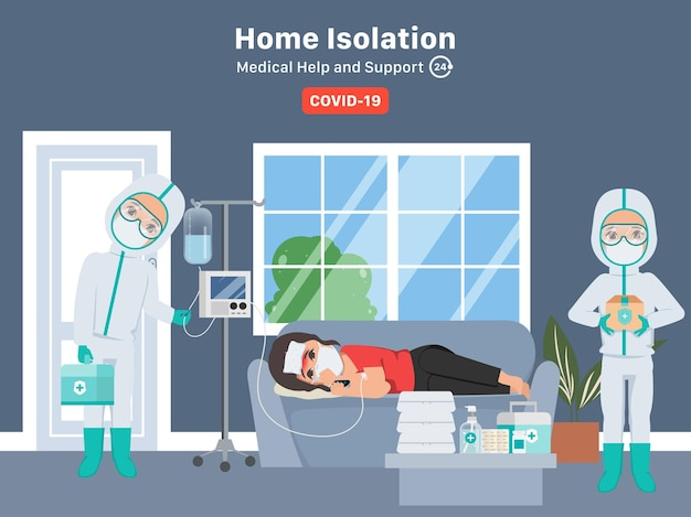 Pracownik ratunkowy w izolacji domowej pomaga i wspiera pacjenta podczas choroby covid19