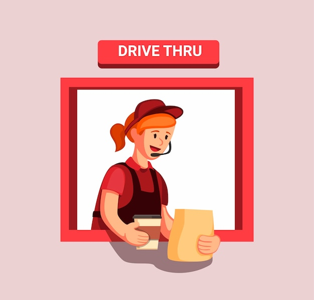 Pracownik restauracji fast food gotowy wydaje zamówienie klienta przy oknie dla gości
