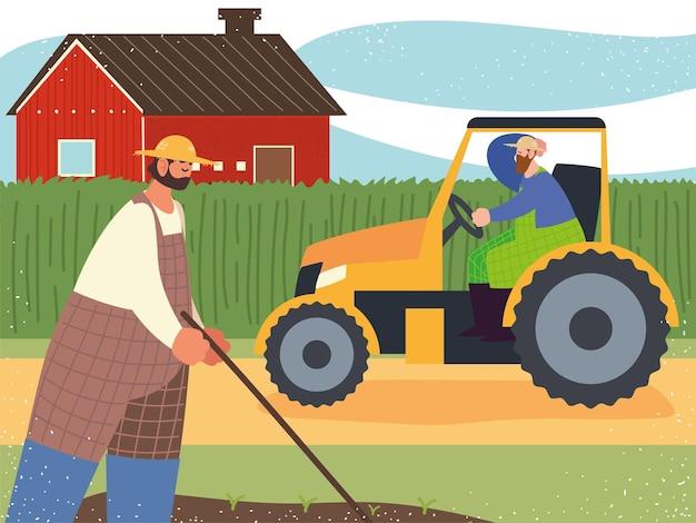 Pracownik rolnika gospodarstwa i rolnictwa w ilustracji ciągnika i sadzenia