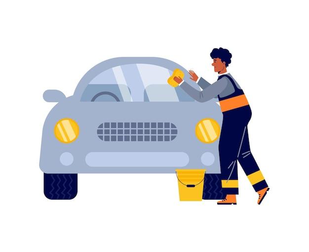 Pracownik serwisu samochodowego mycie i polerowanie samochodu płaskiego wektor ilustracja na białym tle