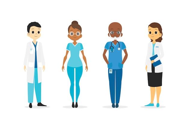 Pracownik służby zdrowia drużynowy ilustracyjny projekt