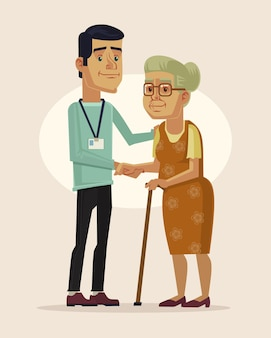 Pracownik socjalny i babcia płaska ilustracja kreskówka
