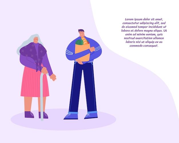 Pracownik socjalny opiekujący się starszą kobietą. mężczyzna pomaga iść do sklepu. z miejscem na twój tekst.