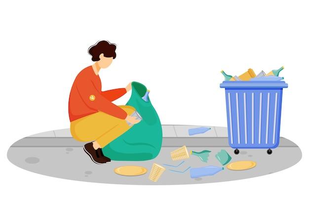 Pracownik społeczności czyści kosz ilustracja. potomstwa zgłaszają się na ochotnika, środowiskowy aktywisty postać z kreskówki na białym tle. gospodarka odpadami, sortowanie i recykling śmieci